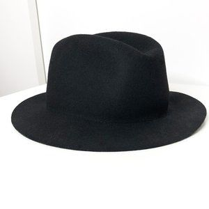 Black Wide Brim Fedora Hat | 100% Wool